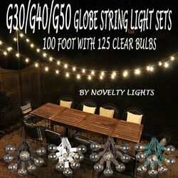 100 Foot Globe Patio Outdoor String Light Set of 125 G50G40G30 Clear Bulb LOT