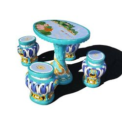 Chinese ceramic Majolica table set - garden and patio table and stool