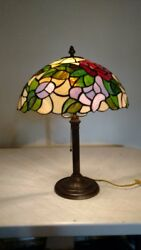 Antique Lamp Base with Vintage Stained Glass Shade $199.00