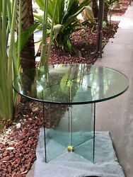 Vintage Glass Dining Table in Style of Pace by Leon Rosen
