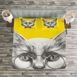 Animal Quilted Bedspread & Pillow Shams Set Cute Cat Glasses Bow Tie Print