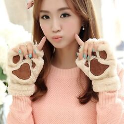 Fingerless Fluffy Bear Paw Plus Novelty Halloween Soft Toweling Winter Gloves $10.99