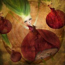 #x27;Layers#x27; Kitchen Artwork Red Onion girl pop art green and Burgundy 8.5x11quot; $15.00