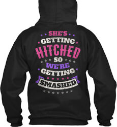 Easy-care Bachelorette S Hitched And Smashed - She's Gildan Hoodie Sweatshirt