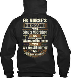 Easy-care Proud Er Nurses Husband - Nurse's Yes She's Gildan Hoodie Sweatshirt