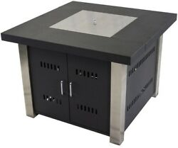 38 in. Gas Fire Pit Table Square Outdoor w Stainless Steel Burner Matte Black