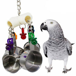 Bird Cage Toys Hanging Stainless Steel Cup Bell for Parrots Cockatoo Conure