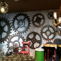Vintage Wooden Gear Wall Art Industrial Antique Vintage Chic Home Bar Chic Decor