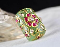 FINEST MUGHAL COLOMBIAN EMERALD CABOCHON GEMSTONE RUBY & DIAMOND IN 22K GOLD