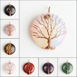 Natural Gemstones Round Rose Gold Tree of Life Reiki Chakra Pendant for Necklace