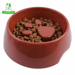 4 Color Cute Pet Feeding Bowl for Dog Cats Plastic Paw Print Slow Feeder Bowl S $7.97