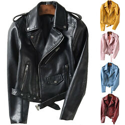 Women Ladies Faux Leather Jacket Coats Zip Up Biker Short Punk Tops Outerwear US