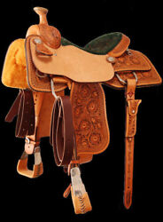 16'' tooled western Genuine leather saddle with complete tack set