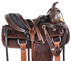 brown western leather saddle 16