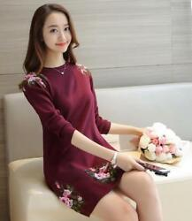 Womens Fashion Elegant Embroidery Floral Scoop Neck Pullover Long Blouses Tops $38.35