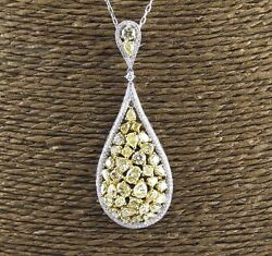 Fancy Yellow Mix Cut Diamond Pear Cluster Pendant 14K Yellow Gold 5.70Ct