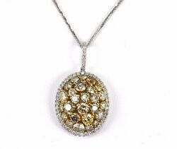 Fancy Yellow Round Diamond Oval Cluster Pendant wChain 14K White Gold 5.33Ct