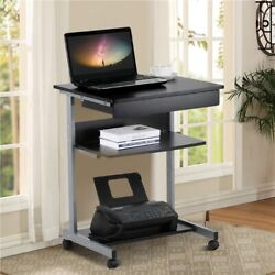 Rolling Computer Desk Workstation Study Writing PC Laptop Table w Printer Shelf $74.99