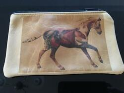 Leather Cosmetic Bag Native American Purse Horse Cowgirls Deer Tan Cowhide $39.99