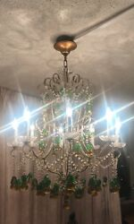 Antique Italian Beaded Chandelier With Glass Pears