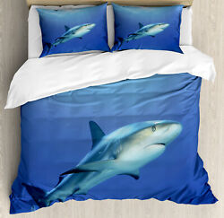 Shark Duvet Cover Set with Pillow Shams Exotic Dreamy Ocean Life Print