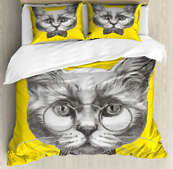 Animal Duvet Cover Set with Pillow Shams Cute Cat Glasses Bow Tie Print