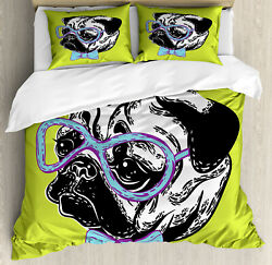 Pug Duvet Cover Set with Pillow Shams Cute Pug with a Bow Tie Print