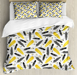 Feather Duvet Cover Set with Pillow Shams Bohemian Exotic Plumage Print