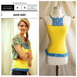 NWOT ASO Marissa Cooper The OC Yellow JET Crochet Trim Yellow Top OS Fits XS-S