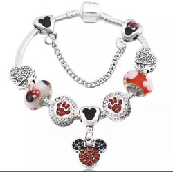 .925 Silver Mickey Mouse Inspired Charm Bracelet Euorpean Clasp 20cm USA SELLER $13.25