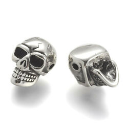 2pcs Antiqued 304 Stainless Steel Skull Metal Beads Silver Loose Spacers 14x9mm $7.65