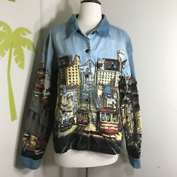 Artscapea Men Novelty Funky Denim Jacket Sz L Large San Francisco City Landmarks $29.50