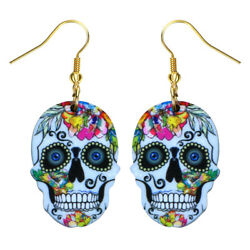 Day of the Dead Sugar Skull Fashionable Earrings - Acrylic - Fish Hook -6 Colors