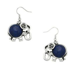 Elephant Fashionable Gemstone Earrings - Fish Hook - Rhodium Plated - 10 Colors