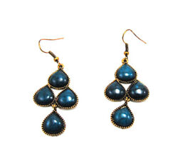 Gold Turquoise Style Triangular Drop Dangling Chandelier Fashion Earrings 2 in $7.95