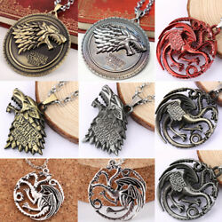 Game of Thrones House Stark Targaryen Dragon Metal Pendant Necklace Jewelry Gift