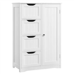 Bathroom Floor Cabinet Wooden Free Standing Storage Organizer w 4 Drawers White $119.59