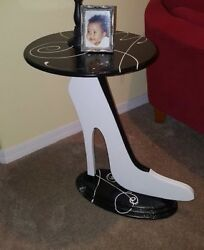 Unique Shoe Table White and black shoe Contemporary Table Accent table $449.99
