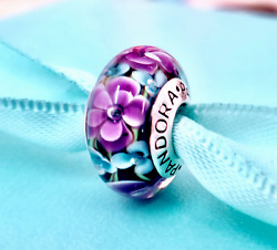 Authentic Pandora Silver 925 ALE Charm Purple Teal Rose Glass Flower Garden