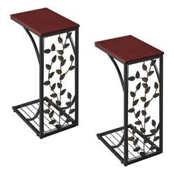 2Pcs Small C End Table Sofa Couch Bedside Chairside Table Living Room Nightstand $49.99