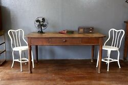 Antique Rustic Harvest Farmhouse Farm Table Dining Room Office Wood Desk Drawer