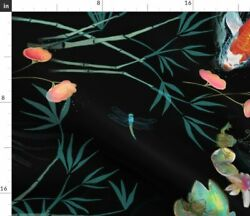 Koi Fish Japanese Oriental Exotic Chinoiserie Fabric Printed by Spoonflower BTY