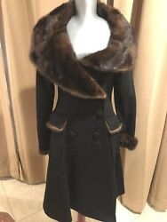 Jean Paul Gaultier wool coat W Mink Collar MUST HAVE COLLECTOR ITEM S to M