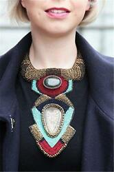 Multi Color Seed Bead Bib Necklace Bold Fashion Exotic Native American Style