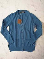 NWT Loro Piana 100% Baby Cashmere Cardigan Ocean Side Size46