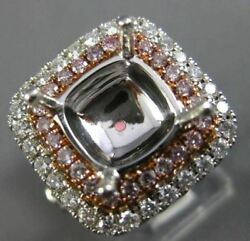 EXTRA LARGE 1.68CT WHITE & PINK DIAMOND 18K GOLD SEMI MOUNT HALO ENGAGEMENT RING
