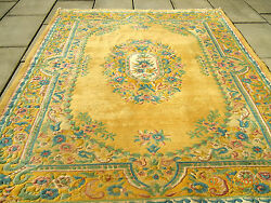 SALE~VINTAGE EXTRA PLUSH FLORAL AUBUSSON WOOL RUG~ GORGEOUS PASTEL COLORS!