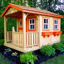 Wooden Playhouse 6 ft x 9 ft Red Cedar Kid Cabin with Flower Boxes and Shingles