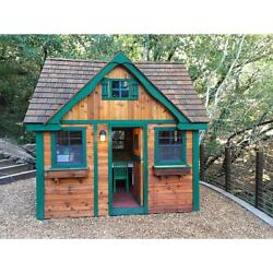 Wooden Cottage Playhouse 9ft x 8ft Red Cedar PreCut and Panelized for Easy Build