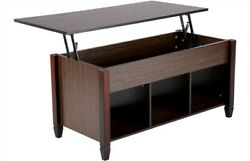 Lift Top Coffee Table w 3 Hidden Compartment Storage Shelf Living Room Furniture $136.99